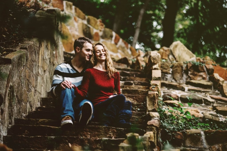 Engagement photos outside on stairs in serene forest area in Dallas, Texas - Photos by Stephanie Rogers Photography