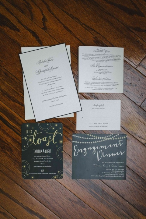 Classic wedding invitation suite for fall wedding at Perot Museum in Dallas, Texas - Photos by Katherine O'Brien Photography