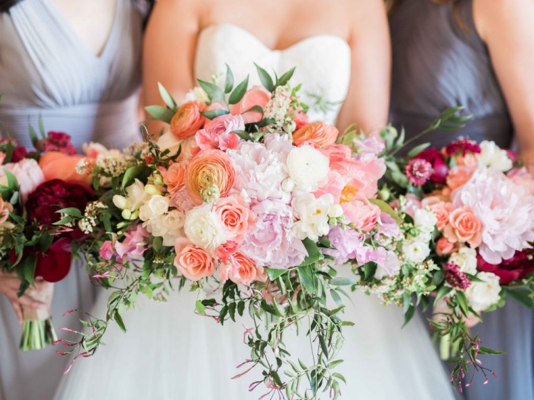 Bride and bridesmaids lush wedding bouquets by Kate Foley Designs for summer wedding at Hickory Street Annex in Dallas, TX - Photos by Elisabeth Carol Photography