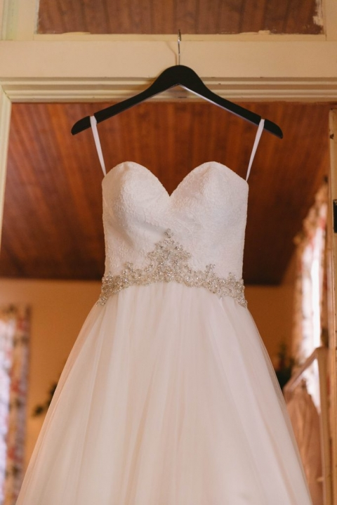 Strapless wedding dress with lace and beaded embellishments for spring wedding in Dallas, Texas - Photo by Evan Godwin Photography