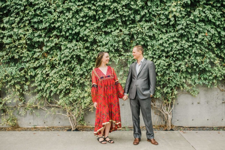 Dallas Arts District outdoor engagement photos - Photos by Alba Rose Photography