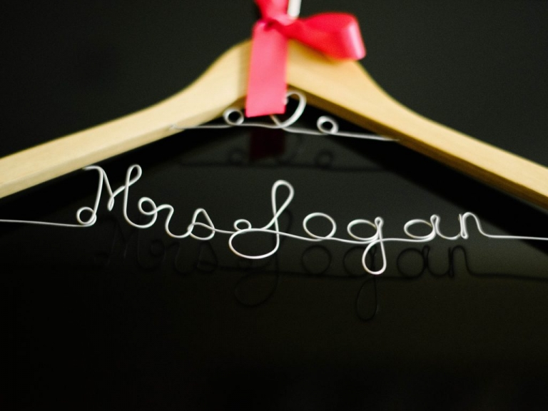 Custom Mrs. wire hanger to hang wedding dress bridesmaids gift ideas - Photos by The Waldron Photography Company