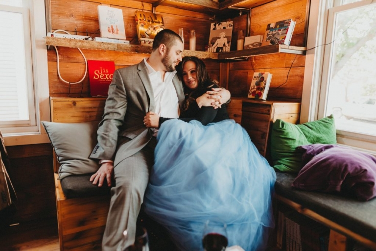 Coffee shop engagement photo bride in tulle skirt - Photo by Two Pair Photography