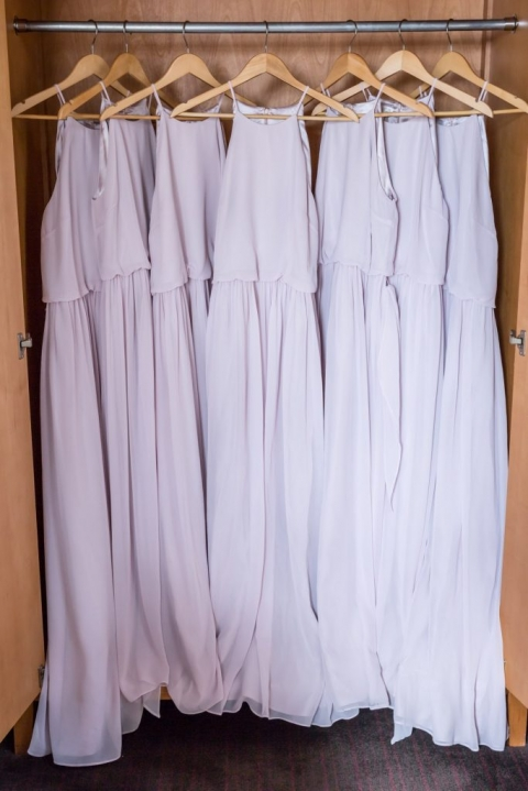 Lavender full length sleeveless bridesmaids dresses for winter wedding in Dallas, Texas - Photo by Rap Photo Company